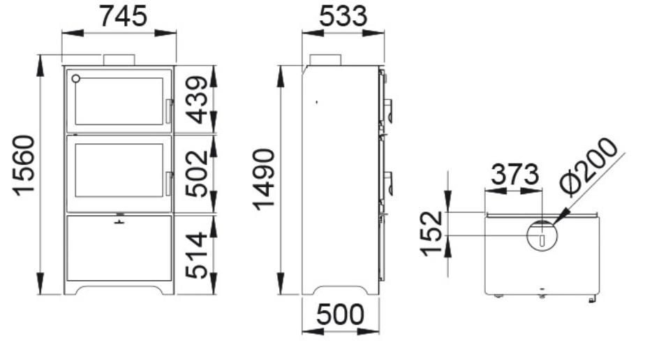 Poêle à bois avec four - BRONPI Murano L 14 kW